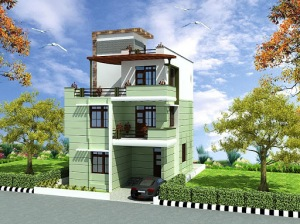 Triplex house design in 135m2 9m x 15m apnaghar house for 9m frontage home designs
