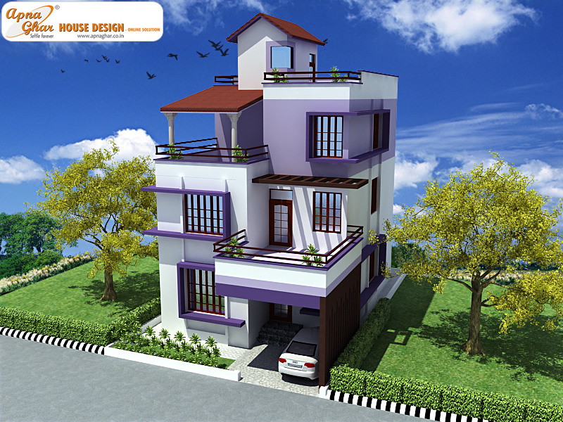 Triplex house design apnaghar house design page 2 for Triplex house plans